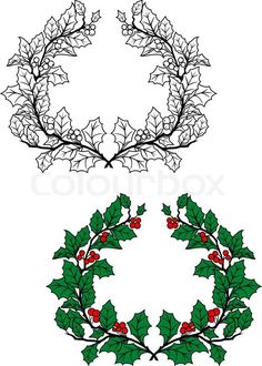 Buy Christmas Holly Wreath by VectorTradition on GraphicRiver. Christmas holly wreath with green leaves and red berries in retro style. Editable and JPEG (can edit in any vect. Winter Illustration, Christmas Illustration, Christmas Wreaths, Christmas Crafts, Xmas, Christmas Ideas, Holly Wreath, Wedding Labels, Red Berries