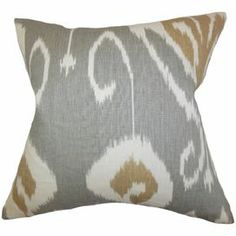 """Bring a pop of style to your sofa or favorite reading nook with this cotton pillow, featuring an ikat-inspired motif. Made in the USA.  Product: PillowConstruction Material: Cotton cover and polyester fillColor: GreyFeatures:  Insert includedMade in the USAHidden zipper closure Dimensions: 18"""" x 18""""Cleaning and Care: Spot clean"""