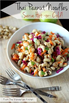 Hot & Cold Thai Peanut Noodles - cook it once in ONE POT, eat it hot, then have it as pasta salad the next day!