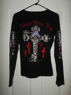 Women's Black, Silver, Red COWGIRL TUFF CO Bling Cross Embroidered Shirt, Size M #CowgirlTuffCompany #ThermalStyleSnapButtonLongSleeveBlingShirt #Casual