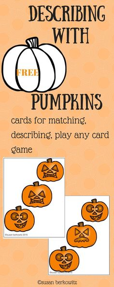 Get your students giving more complete, accurate, and complex directions while playing fun card games. The ability to describe people, places, events is crucial in academic success. Here is an opportunity for your students with language difficulties to practice being precise in their descriptions in a fun practice game format.Have fun through the fall playing Go Fish-type and Memory-type card games with these 42 pumpkin cards where students have to carefully describe the card that they…