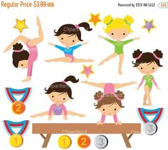 Gymnastics Girls Digital Clipart Set - African american, Multicultural - Personal and Commercial Use Kids Cartoon Characters, Cartoon Kids, Gymnastics Girls, Gymnastics Quotes, Girl Clipart, Digital Invitations, Blog Design, Colorful Pictures, Handmade Crafts