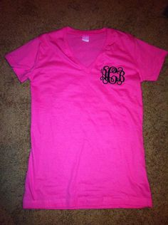 Monogram Vneck TShirt Longer Length Ladies Shirt by BellaBama, $20.00  have a couple will be ordering more LOVE ANYTHING MONOGRAMMED!