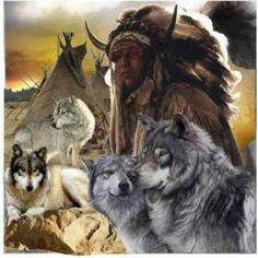 Amérindien et loups