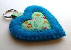Felt Heart Keychain Tutorial from Leslie's Art and Sew