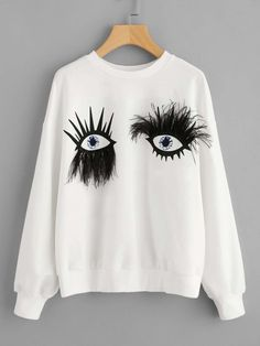 ROMWE Faux Fur Eyes Print Funny Sweatshirt 2017 Woman Drop Shoulder White Casual Pullover Autumn O Neck Long Sleeve Sweatshirt Funny Sweatshirts, Sweatshirts Online, Hoodies, Trendy Fall Outfits, Pullover Designs, Drop, White Casual, Sweater Weather, Romwe