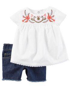 Carter's® Baby Girls' 2 Piece Poplin Shirt And Denim Shorts Set Little Girl Outfits, Little Girl Fashion, Toddler Outfits, Baby Outfits, Kids Outfits, Kids Fashion, Baby Girl Dresses, Baby Dress, Moda Kids