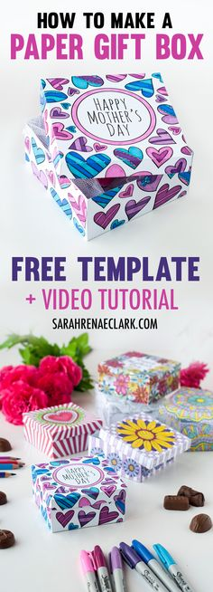 Download this free printable paper gift box template to color in and make a Mother's Day gift box! Visit the blog to see a full video tutorial and step-by-step photo instructions. Check it all out at http://sarahrenaeclark.com/2017/diy-paper-gift-box/