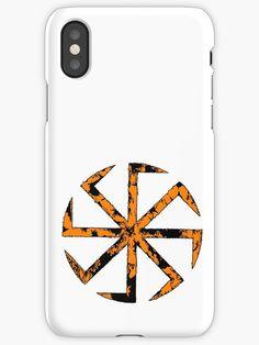 'Kolovrat, the Symbol of the Sun (Slavic Pagan, Orange Extravaganza)' iPhone Case by WearGraphics Pagan Symbols, Deities, Wicca, Smartphone, Framed Prints, Phone Cases, Sun, Orange, Iphone