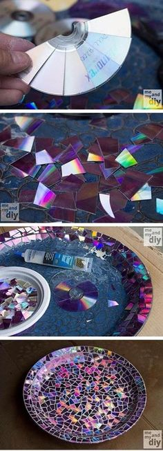 Mosaic Tile Birdbath using Recycled DVDs... to fix Aunt Marie's old birdbaths!