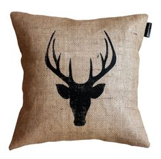 Hessian Stag Head Throw Pillow Handmade by StencilHausDesigns