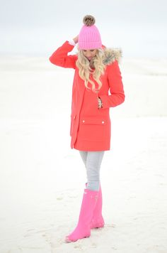 Fall Winter Outfits, Autumn Winter Fashion, Winter Style, Spring Outfits, Magenta, Pink Hunter Boots, Ily Couture, Mckenna Bleu, Cold Weather Fashion