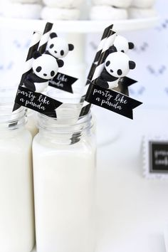 Milk bottles with Panda Bear straw toppers from a Party Like a Panda Birthday Party on Kara's Party Ideas | KarasPartyIdeas.com (53)