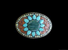 Shoply.com -Green Jasper Millefiori and Turquoise Mosaic Belt Buckle. Only $95.00