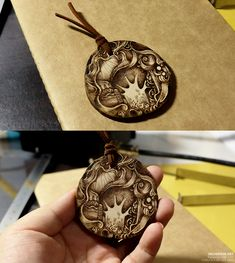 pyrography(wood burning) on wooden pendant. Youtube video : http://youtu.be/7rJKH-fYiG8