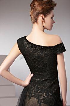 Black Asymmetrical Lace Beaded Floor Length Evening Dress BY393