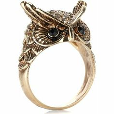 Oscar Owl Ring   Brown   Accessorize