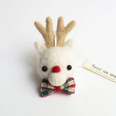 Christmas ornament  FUZZ felted reindeer head  red by fuzzonme, $20.00