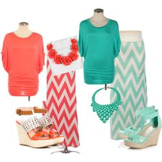Chevron Maxi Skirt in Coral and Mint by Moxie Wear at www.iwearmoxie.com