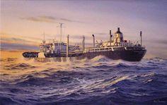 tanker_atlantic_challenger-ARCO Tanker Atlantic Challenger - Watercolor Painting by Richard Moore