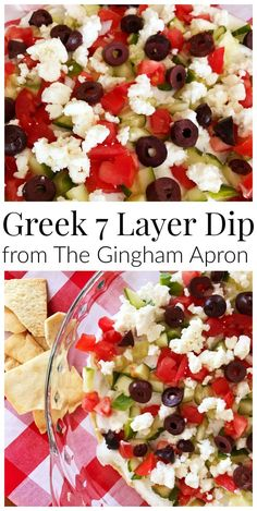Greek 7 layer dip- hummus, tzatziki , cucumbers, feta, and tomato. Served with pita chips. Fresh and delicious!
