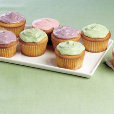 Vanilla Cupcakes with Colored Cream Cheese Frosting - FineCooking