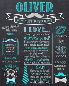 Tie 1st Birthday Chalkboard Mustache & Bow Ties by PrincessSnap