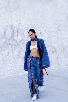 Sandra Kpodonou Denim Choker, Kimono, and Pants  American Apparel Bandeau  Fenty Puma by Rihanna Sneakers  Photography: Allen Park