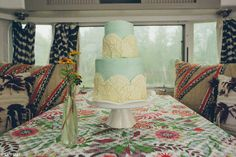 A beautiful cake inside a beautiful Airstream