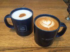 渋谷 cafe1886 at Boschのカフェラテ&ホワイトフラット♡