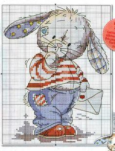 Somebunny to love ? Cute Cross Stitch, Cross Stitch Bird, Beaded Cross Stitch, Cross Stitch Animals, Cross Stitch Charts, Cross Stitch Designs, Cross Stitching, Cross Stitch Embroidery, Cross Stitch Patterns