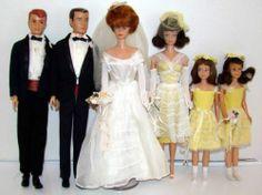 Vintage Barbie Wedding Party Dolls Clothing in Display Case