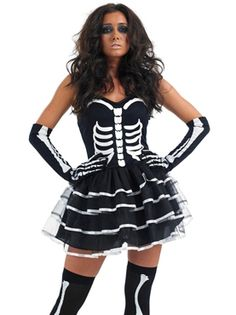 Skeleton Tutu Dress Costume... Great to team with Day of the Dead/Dia de los Muertos make-up & hair for Halloween! :)