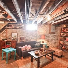Old basement, with a lot of character! Really wish we can do this to our old basement.