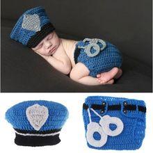 Nova venda polícia projeto adereços fotografia de bebê Handmade chapéu de crochê polícia de roupa traje infantil(China (Mainland))