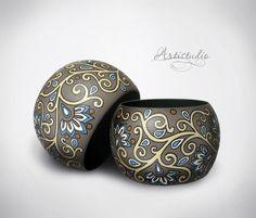 Купить Браслет с ручной росписью - серый, браслет деревянный, браслет с росписью, орнамент, роспись