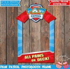 """Paw Patrol Theme 24"""" x 36""""  Photo Booth Frame Digital Download #catchmyparty #pawpatrolbirthdayparty #photoboothprop #partysupplies"""