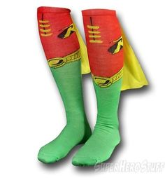 Robin socks. WITH CAPES. Must have. My husband needs to see me frolicking about the house in these.