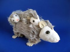 Vintage Opossum Mama and Babies Dakin Nature Babies Stuffed Animal Toy Forest Animal Velcro Attached Babies Pink Nose Black Eyes Whiskers