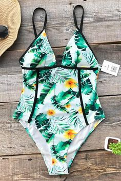 5f27f1bc8af Cupshe Lush Live Print One-piece Swimsuit Swin Suits, Cheap Swimsuits,  Flattering Swimsuits