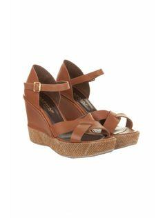 Sandales compensées en cuir COGNAC - Chaussures Femme - NAF NAF