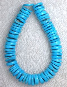 "Sleeping Beauty Turquoise 9.5mm Diameter Loose Coin Beads Blue 6"" Strand #858 #Erthart #SouthWest"