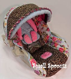 Custom Boutique Leopard Rose Infant Car Seat by smallsproutsbaby, $139.00 in love with this!! <3