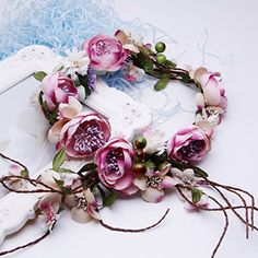 Large Pastel Rose Flower Headband Hair Crown Garland Pink Blue Festival Vtg X-94