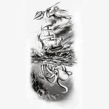 Resultado de imagem para kraken and ship tattoo