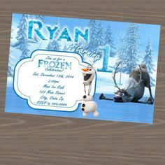 Sven and Olaf Party Invitations, Frozen invitations for boys