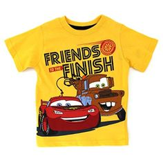 Disney Cars Toddler Short Sleeve Tee (3T, Yellow Friends McQueen & Mater) - Brought to you by Avarsha.com