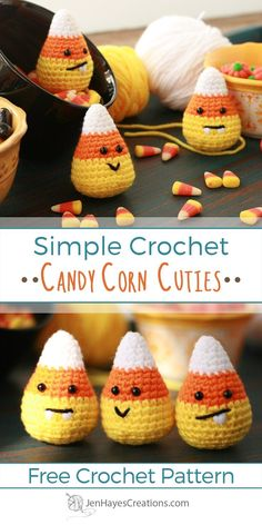 Crochet Pour Halloween, Halloween Crochet Patterns, Easy Halloween, Halloween Candy, Crochet Food, Crochet Gifts, Crochet Dolls, Crochet Angels, Crochet Simple