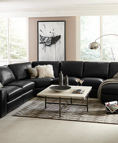 Fabrizio Leather Sectional Sofa Living Room Furniture Collection | macys.com