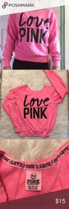 VS Pink Crew Sweatshirt • Neon Pink VS Pink Sweatshirt                                      • Great condition                                                                    • 1-2 day shipping PINK Victoria's Secret Tops Sweatshirts & Hoodies